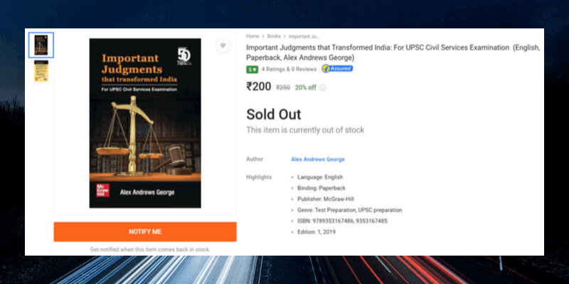 Book sold out due to huge demand