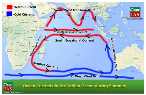 Australia Map Equator.Ocean Currents Shortcut Method By To Learn Faster Clear Ias