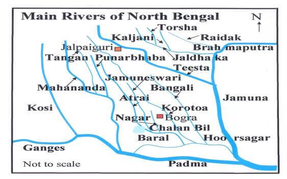 Main rivers in north bengal