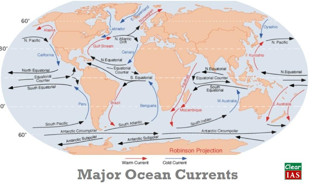 Ocean Currents Shortcut Method By To Learn Faster Clear IAS - Major oceans of the world map