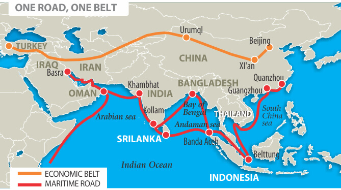One Road One Belt (OBOR) - Economic Belt and Maritime Road