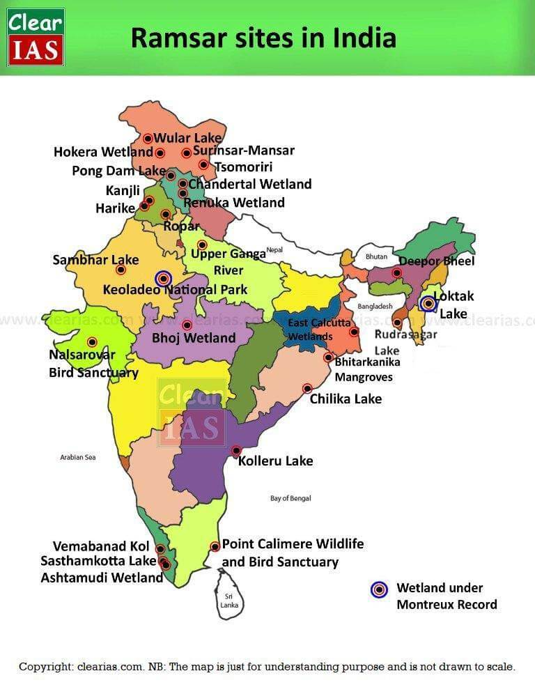 Ramsar sites in India - State-wise compilation - ClearIAS