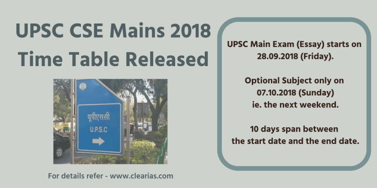 UPSC Mains 2018 Timetable - V2