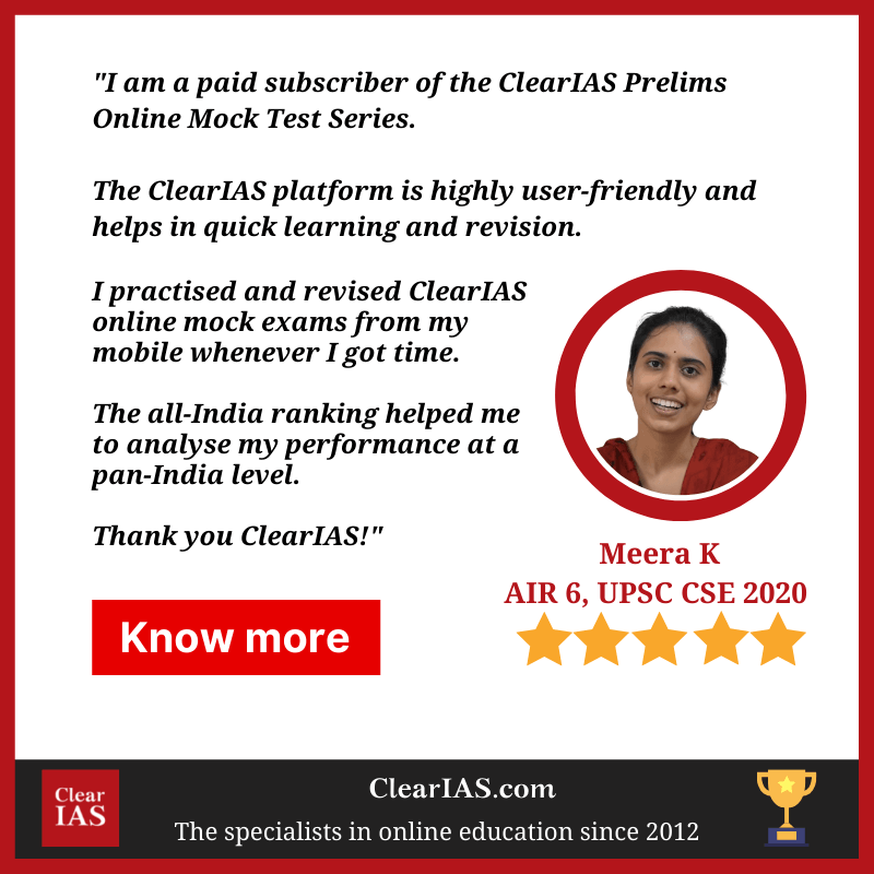 AIR 6 Meera K about ClearIAS Prelims Online Test Series