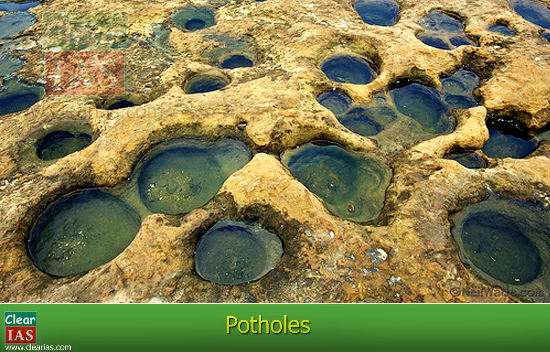 Potholes - erosional landform due to running water
