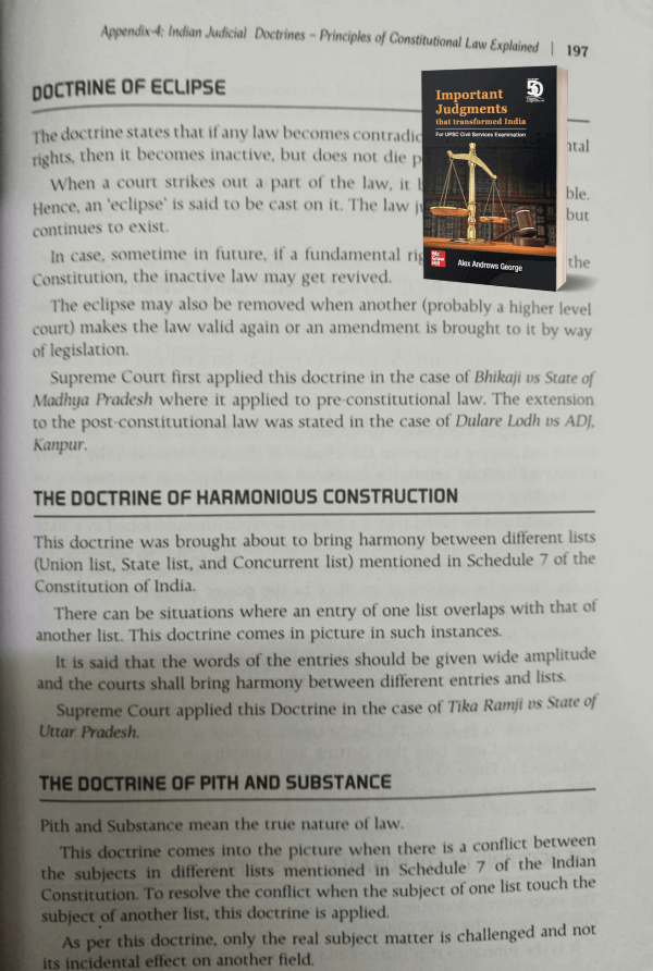 "The Principle of Harmonious Construction - is explained in the book ""Important Judgments that transformed India"""
